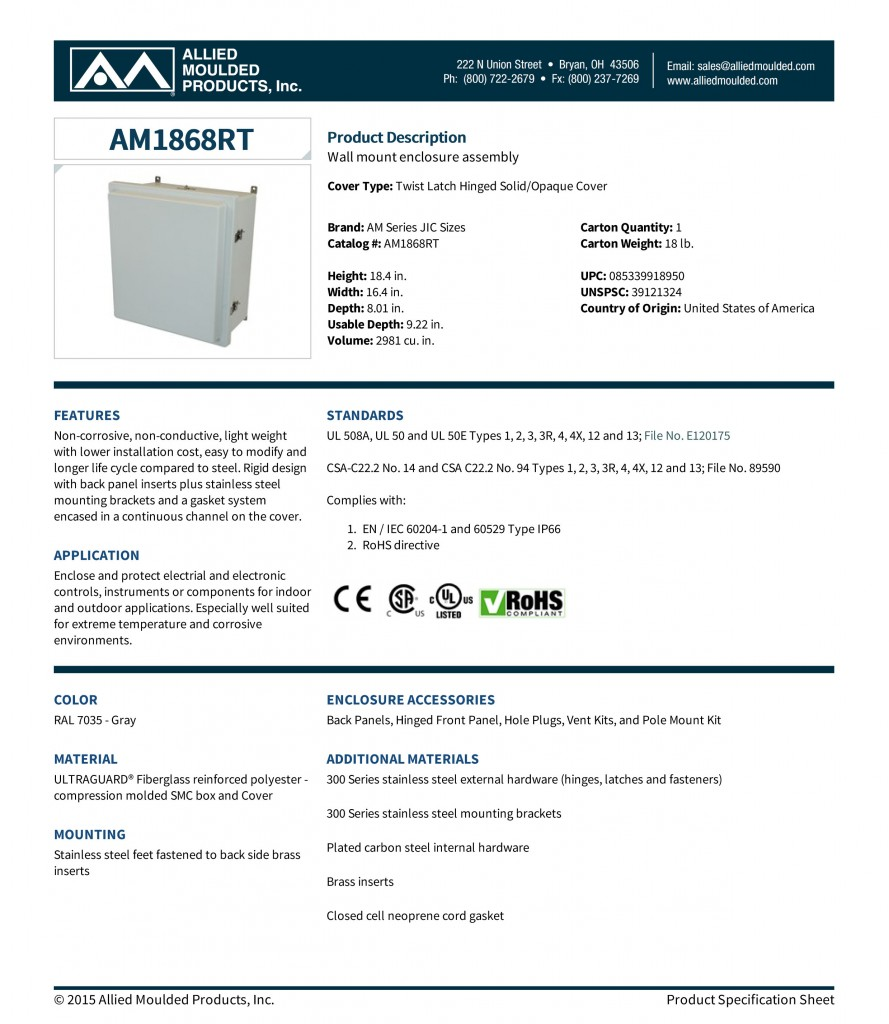 AM1868RT | 16x14 to 20x16 Fiberglass JIC Enclosures | Allied Mou