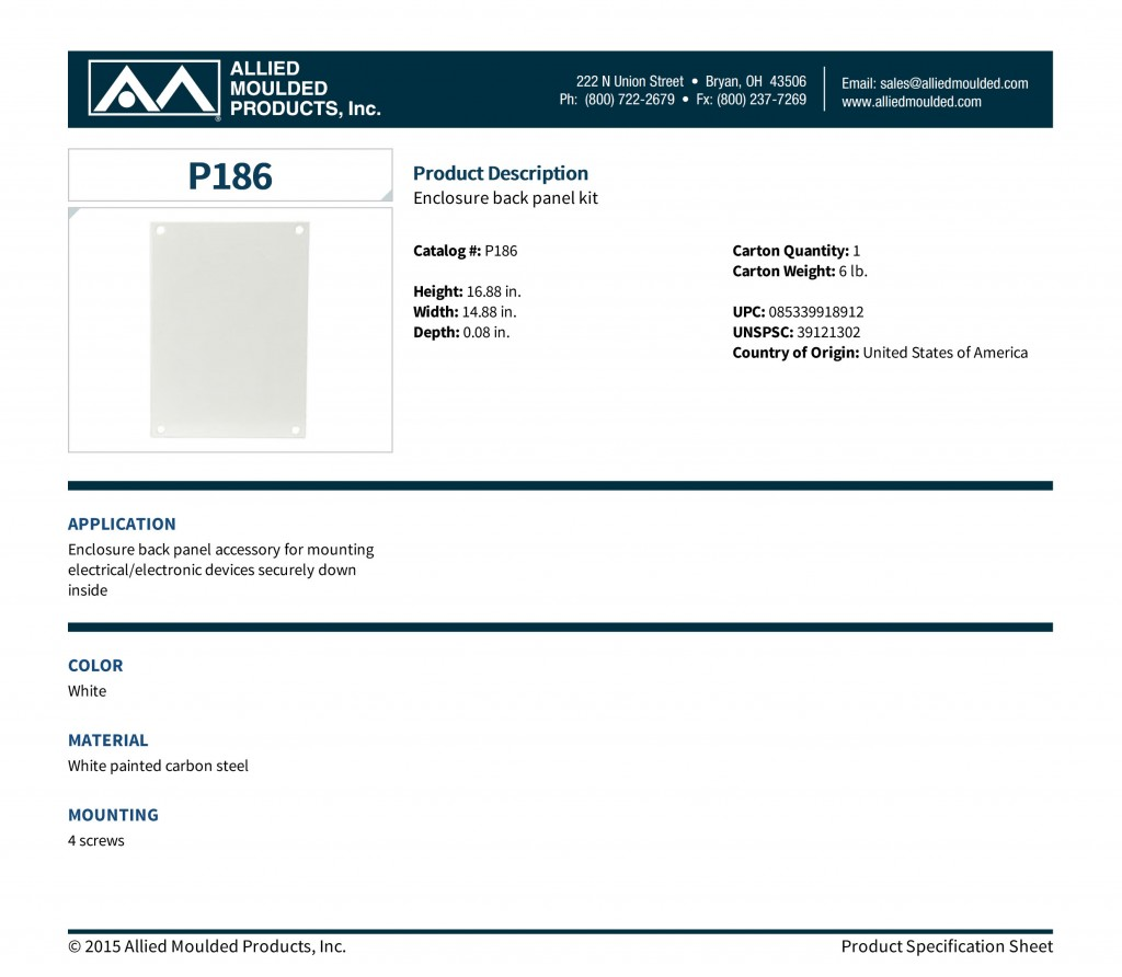 P186   Back Panels   Allied Moulded Products, Inc.